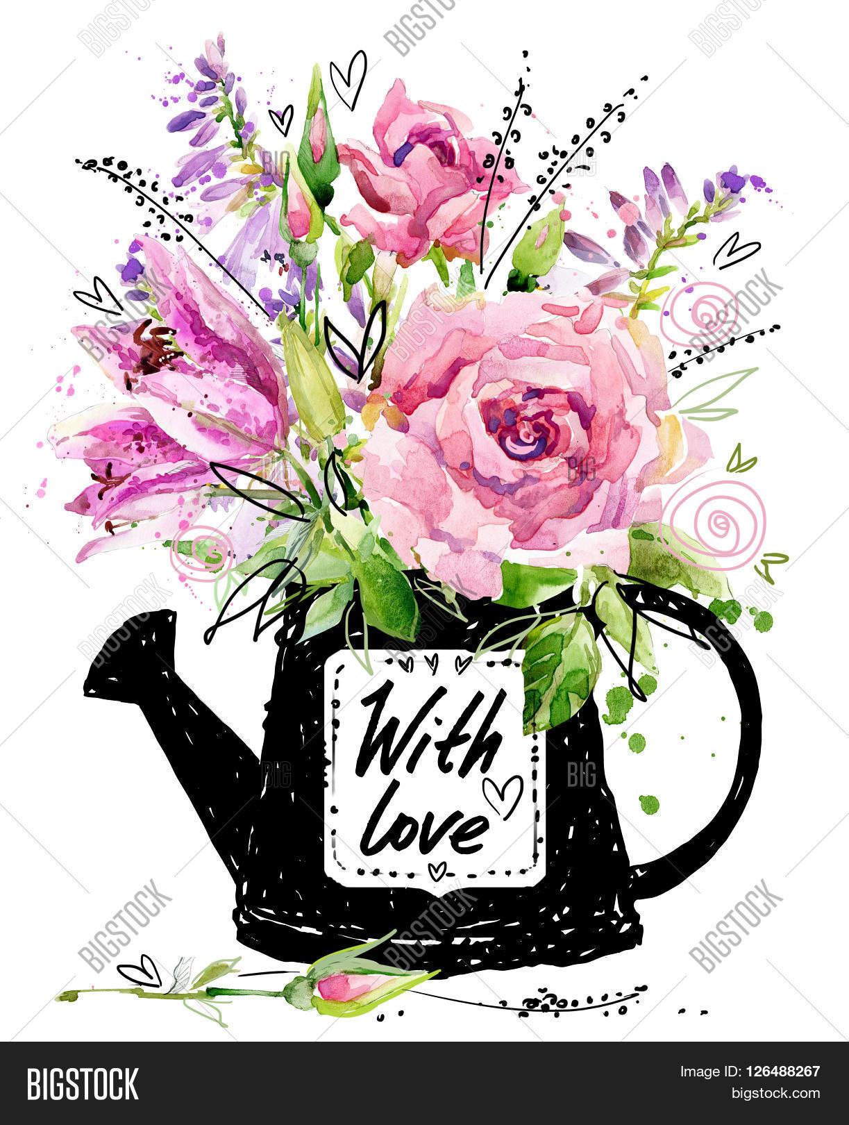 Greeting Card Flowers Image Photo Free Trial Bigstock