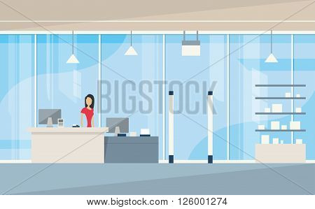 Shop Interior Sales Woman Stand Near Cash Desk Vector Illustration