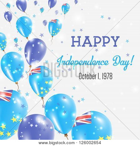 Tuvalu Independence Day Greeting Card. Flying Balloons In Tuvalu National Colors. Happy Independence