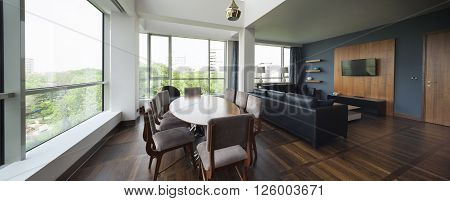 open plan living room of a luxury duplex apartment poster