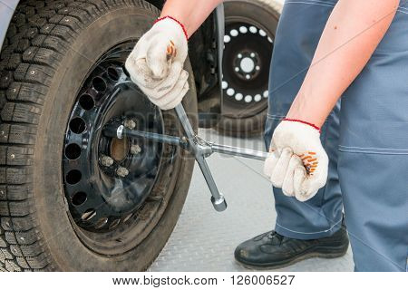 Mechanic Unscrews The Nuts On The Wheel A Wrench