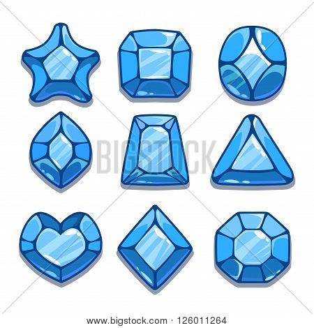 Cartoon blue different shapes gems set, game ui assets,  isolated on white poster
