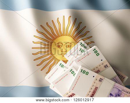 Argentine peso banknote bundles on textile textured Argentina flag. 3d rendering.