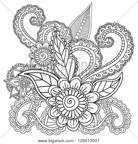 Coloring pages for adults. Henna Mehndi Doodles, Abstract Floral Paisley Design Elements, Mandala, Vector Illustration. Coloring book.