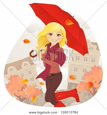 Cheerfull girl with umbrella on fall street