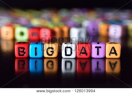 Big Data word on colorful dice with reflection