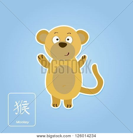 Stock vector icons with monkey and chinese zodiac sign  for your design