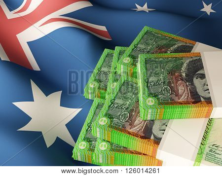 Australian dollar banknote bundles on textile textured Australian flag. 3d rendering.