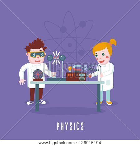 Kids are studing physics in a lab. Education concept.