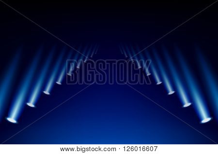 Colorful abstract spotlights gallery background vector illustration.
