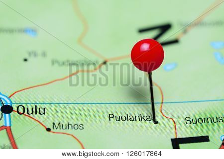 Puolanka pinned on a map of Finland poster