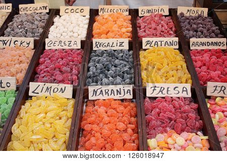 Exhibitor store natural jelly beans with different flavors.