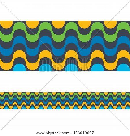 Copacabana Rio de janeiro beach seamless border. Vector illustration colorful background. Brazilian national colors.