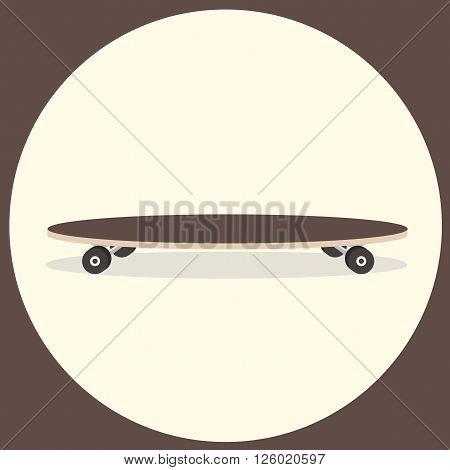 Vector illustration of longboard. Isolated Illustration. Flat colorful longboard. Cartoon style.