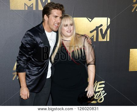 Hugh Sheridan and Rebel Wilson at the 2016 MTV Movie Awards held at the Warner Bros. Studios in Burbank, USA on April 9, 2016.