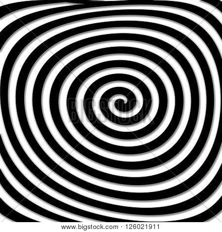 Skewed black hypnotic illustration very strange and hypno