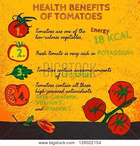Health benefits of ripe tomatoes. Medicine image with icons and elements in hand drawn style on a textured background. Vector illustration made in orange, red, yellow and green colors.