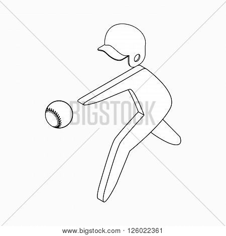 Baseball player icon in isometric 3d style on a white background
