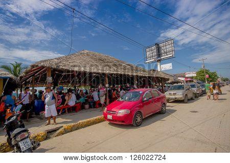 ATACAMES, ECUADOR - March 16, 2016:  Steet view of beach town located on Ecuador's Northern Pacific coast. It is located in the province of Esmeraldas.