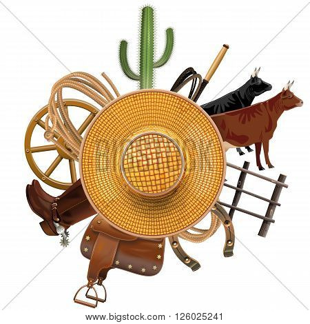 Vector Cowboy Ranch Concept with Straw Hat isolated on white background