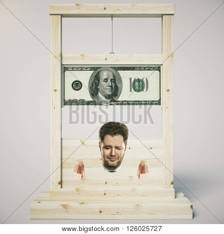 Debt concept with man about to get his head chopped off on a light wooden guillotine isolated on white background. 3D Rendering