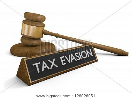 Court law against actions taken to evade taxes, 3D rendering
