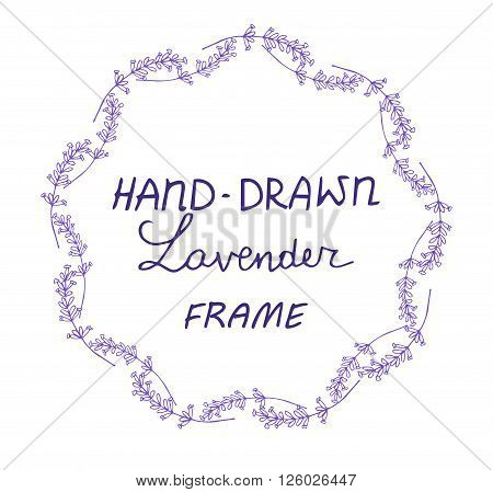 lavander frame hand drawn  with ribbons on white