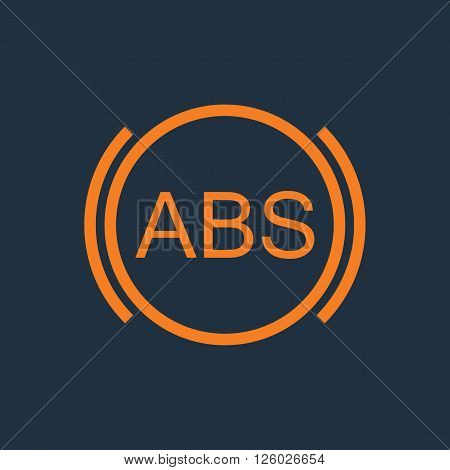 ABS icon. Brakes antilock system sign. Linear outline icon on white background. Vector