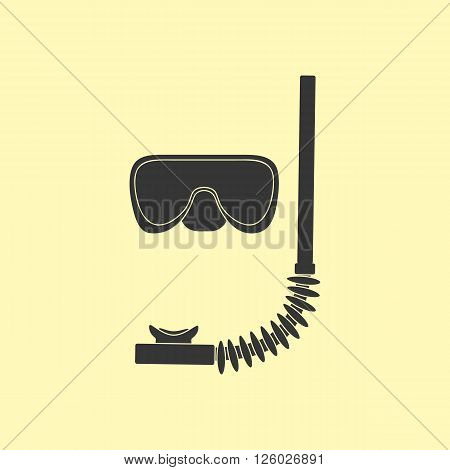 Diving Mask Icon. Mask and tube for diving vector illustration isolated on yellow background