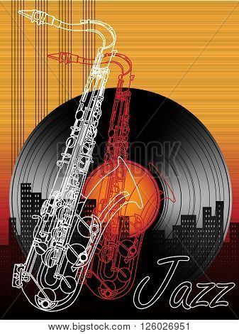 Jazz music festival poster background template with saxophone vector billboard or placard