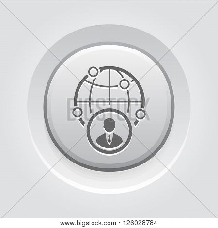 Business Representative Icon. Business Concept. Grey Button Design