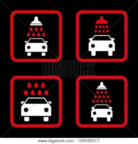 Carwash vector bicolor icon. Image style is a flat icon symbol inside a square rounded frame, red and white colors, black background.