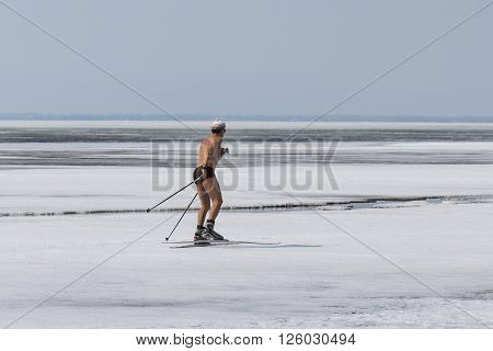 Berdsk Novosibirsk Oblast Siberia Ob River Russia - April 17 2016: a skier runs along the ice of the Ob River