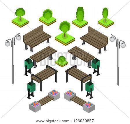 Bench. Outdoor park benches Icon Set. Wooden benches for rest in the park. Flat 3d isometric vector illustration for infographics. isometric details Park: bench lights bushes trees urns