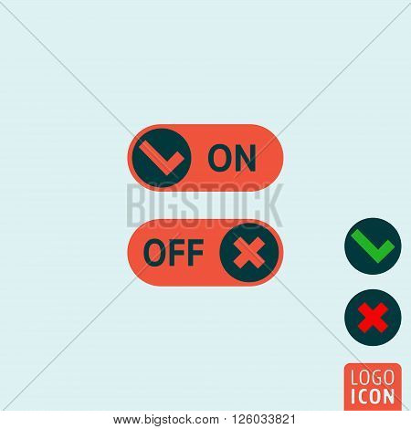 On Off buttons icon. On Off sliders. Vector illustration