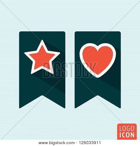 Bookmark icon with heart and star. Vector illustration