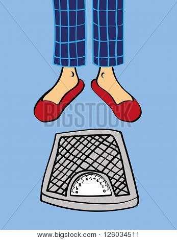 Pair of male legs in pyjama pants and slippers standing in front of a set of bathroom weighing scales