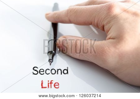 Second life note in business man hand