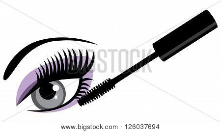 vector illustration of make up mascara and eye with long lashes