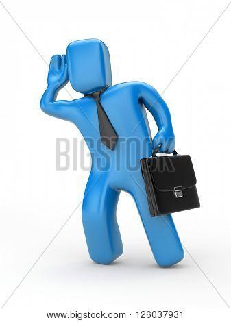 Businessman eavesdropping - 3D illustration