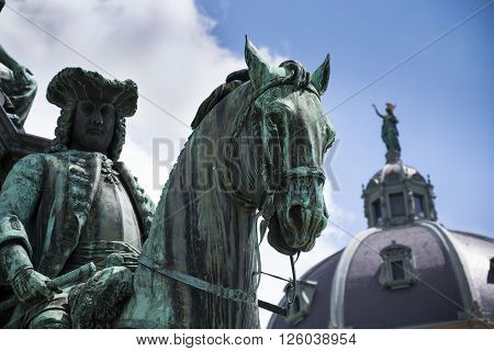 Prince Eugene Of Savoy Statue With The Hofburg Palace In Vienna, Austria
