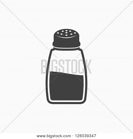 Salt shaker icon in flat style isolated on white background.  Baking and cooking ingredient. Food seasoning. Kitchen utensils salt shaker. Vector illustration