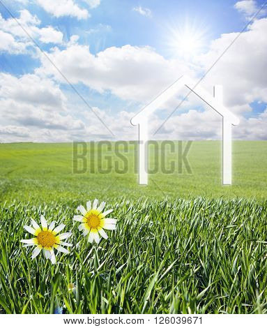 Iconic symbol of a house on a green landscape. ** Note: Visible grain at 100%, best at smaller sizes