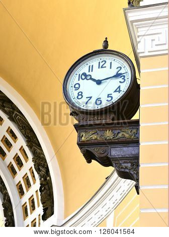 Palace square from Sankt Peterburg russia chiming clock closeup.