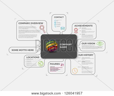 Vector Company infographic overview design template with colorful labels - light version
