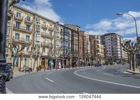 Logroño Spain - April 9 2016. Muro de Cervantes street in downtown of Logroño La Rioja. Spain.