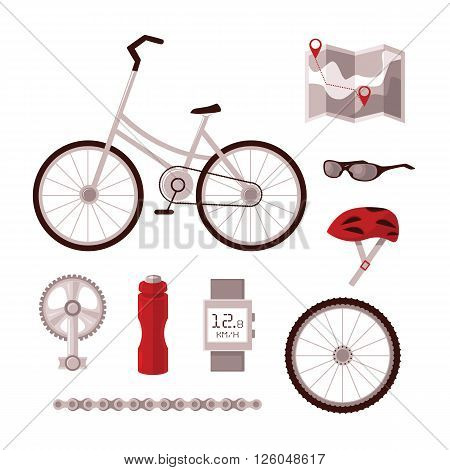 Set cyclist set for cycling, bicycle, pedal, chain, wheel, sports clothing, map, Recker, all led to infographics and information on cycling in the city.