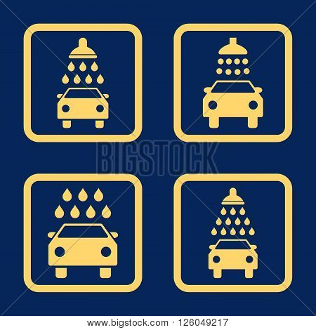 Carwash vector icon. Image style is a flat icon symbol inside a square rounded frame, yellow color, blue background.