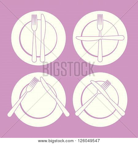 set of dishes, such as plates, fork and knife on a pink  ackground
