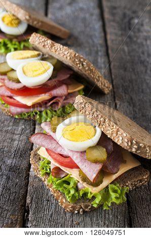 Three Toast Sandwiches
